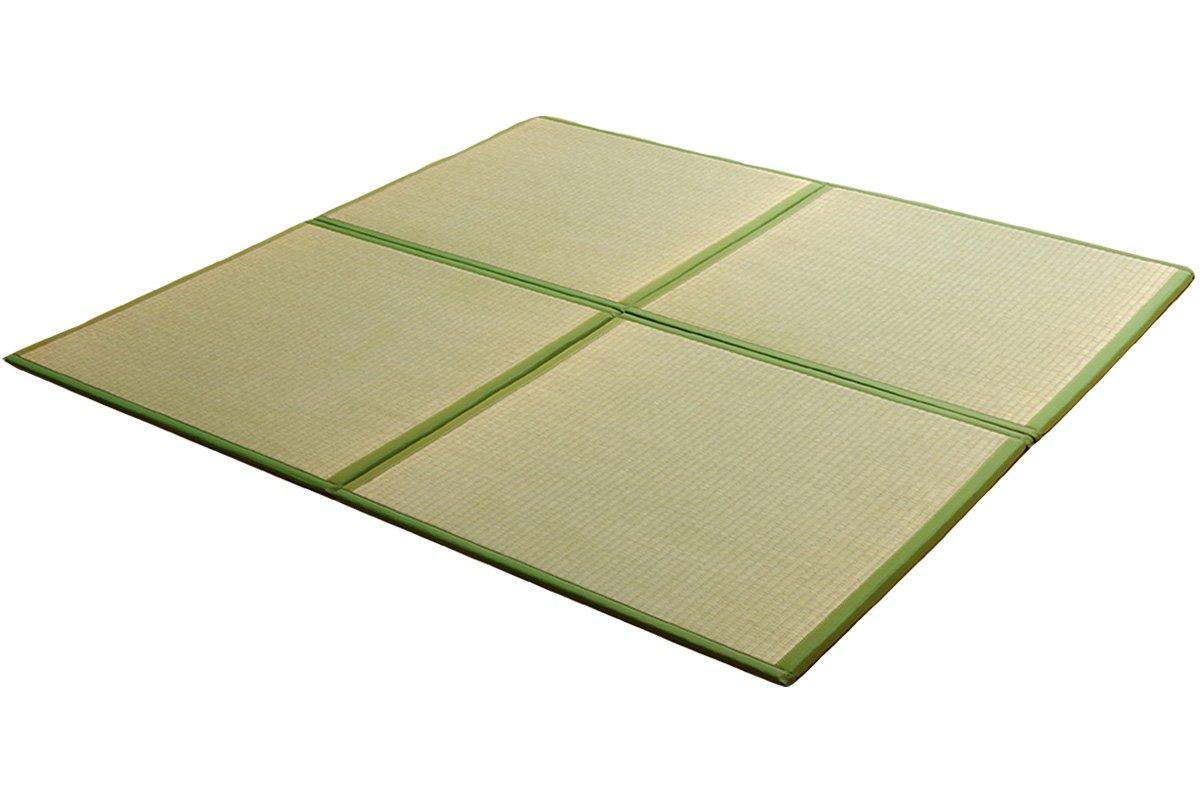 国産い草 ユニット畳『あぐら 4枚セット』ダークグリーン(#8321220) (約)82×82cm 置き畳 B071X65BWV ダークグリーン 4枚セット