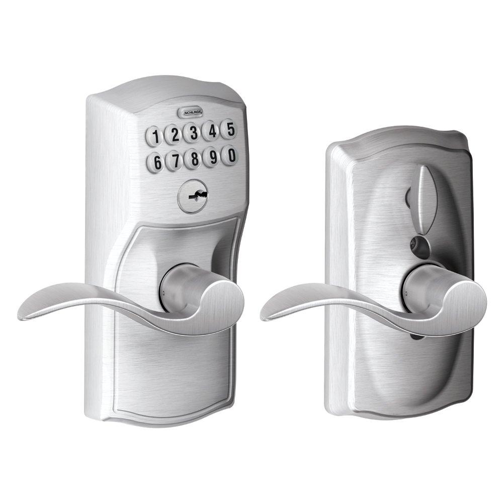 アクセントレバーを備えたSchlage Camelotキーパッドのエントリ。 Flex-Lock FE595 CAM 626 ACC 1 B001GPL5WU  艶消しクローム Flex-Lock