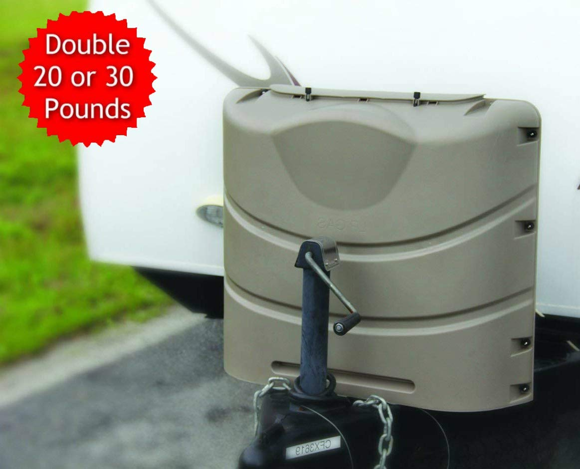 RV Propane Tank Cover for 2 x 20 or 30 Pounds Cylinder Easy Access to Gas Valves Heavy Duty Strong and Durable, RV and Outdoor Accessories (Champagne) & Free Ebook by Stock4All