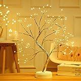 108 LED Luces de árbol Bonsai con Botón Táctil, Lámpara de árbol de 50cm con Pilas y USB Ramas Ajustables y Cables de Alambre