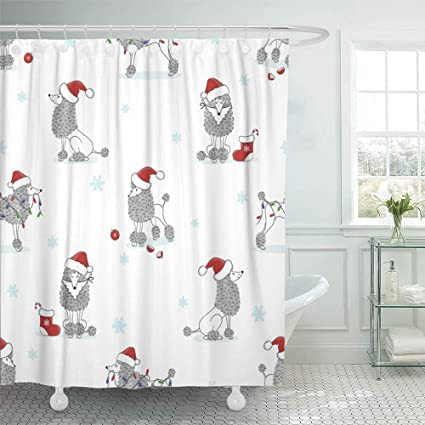 Emvency Decorative Shower Curtain Gray Pet Christmas Pattern Cute Poodle Dogs Holiday Red Animal Cartoon Hat