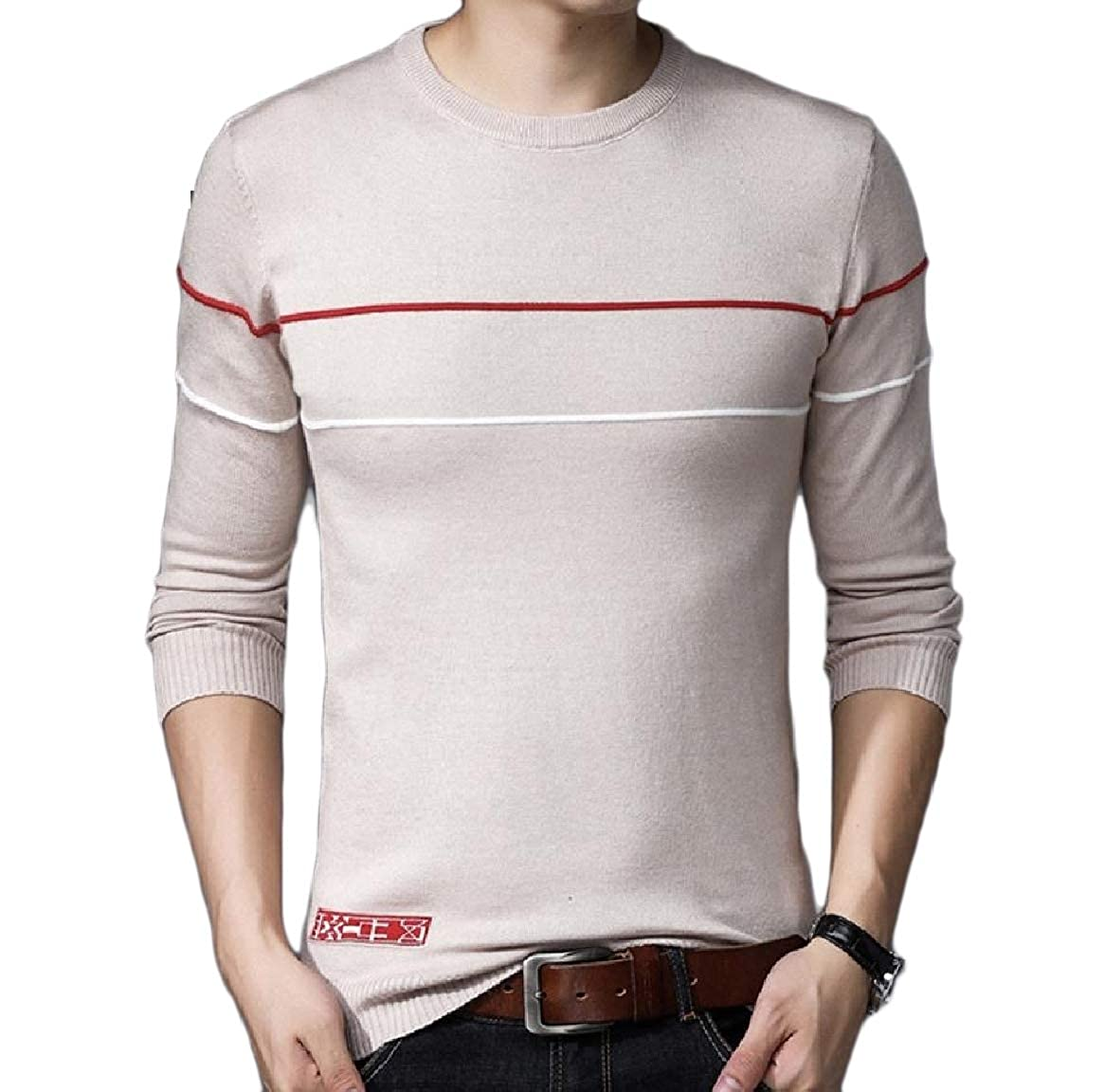 Comaba Mens Contrast Fitted Thermal Soft Knitting Pullover Sweaters