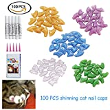 Fanme Cat Nail Caps Rubber Pet Paws Claws Shinning Covers with Glue and Applicators 5 Colors 100Pcs (S)