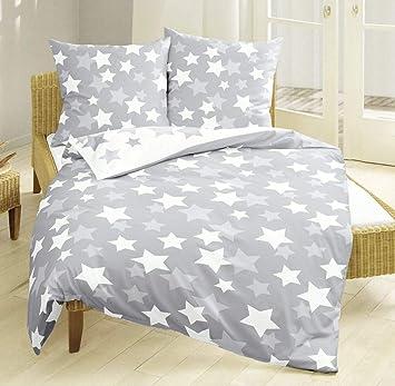 Bierbaum Biber Bettwäsche 135x200cm 2 Tlg Sterne Grau Weiß Amazon