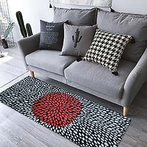 yizun nueva franela negro y blanco Serie Red Dot antideslizante Felpudo Área Alfombra Alfombra Alfombra Protectora de Suelo para cocina cuarto de baño