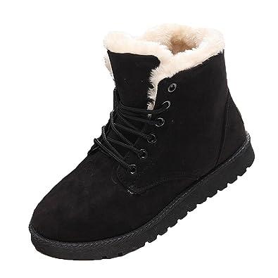 Lace-up Martin Stiefel, Damen Wildleder Flache Plattform Sneaker Schuhe  Fell gefüttert Winter Lace 2ec1a140ee