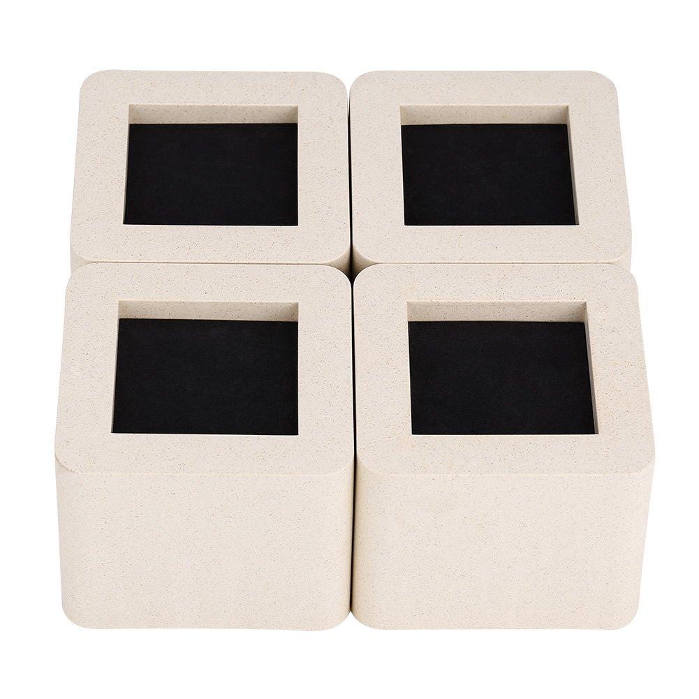 Furniture Riser, 4Pcs/Set Ceramic Simulated Plastic Home Furniture Leg Risers for Table Desk Bed Sofa Wardrobe Riser/Lift Beige