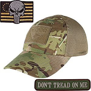 Condor Mesh Tactical Cap Camo with Punisher TWO Morale Patch Bundle