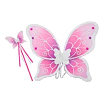 Lucy Locket Kids Girls Fairy Wings and Wand Fancy Dress Set – Silver Purple & Pink Wings for Children (3-10 Years)