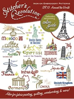 Stitchers Revolution Iron-On Transfer Pattern for Embroidery, Around The World Landmarks