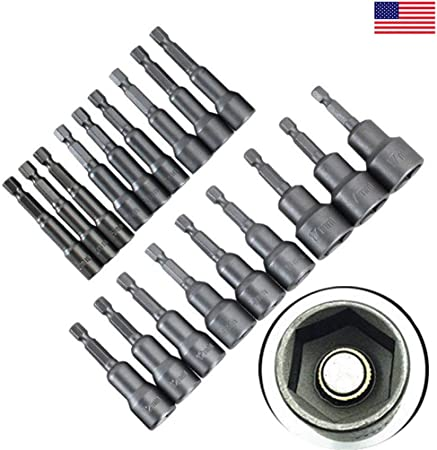 1//4/'/' Hex Shank Metric 6mm-19mm Socket Magnetic Nut Driver Adapter Drill Bit