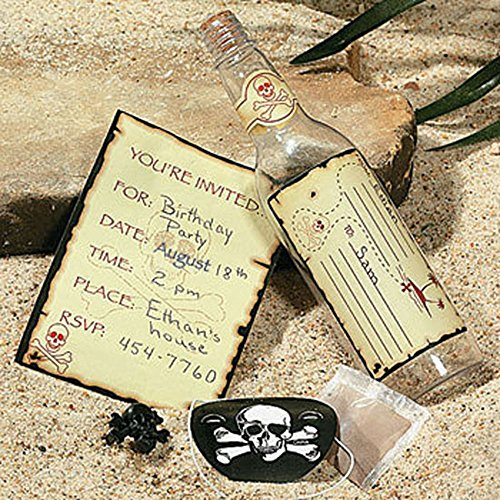 24 Pirate Bottle Invitations Skull Party Favors Unique Message in a Theme ()