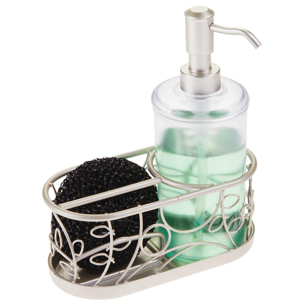 mDesign Decorative Wire Kitchen Sink Countertop Pump Bottle Caddy Liquid Hand Soap Dispenser with Storage Compartment - Holds and Stores Sponges, Scrubbers and Brushes - Vine Design - Clear/Satin