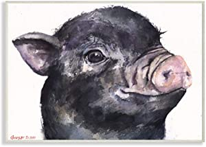 Stupell Industries Cute Pig Baby Animal Watercolor Painting Wall Plaque, 10 x 15, Multi-Color