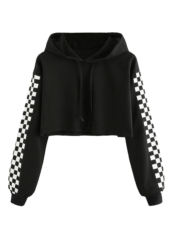 5f2fa392f1fde HUILAN Women s Long Sleeve Plaid Checkered Sweatshirt Crop Top Hoodies at  Amazon Women s Clothing store