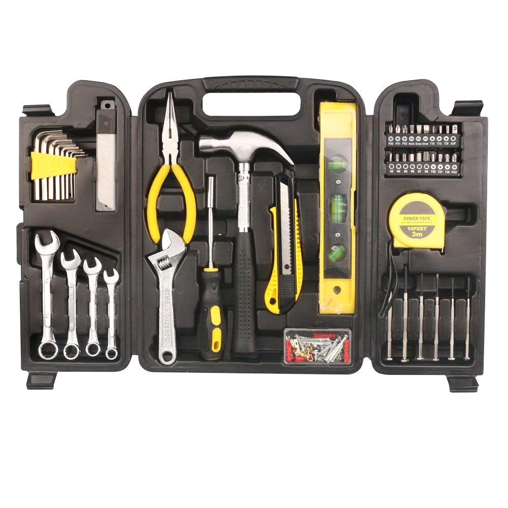 Tool Kit. Best Portable Big Basic Starter Professional Household DIY Hand Mixed Repair Set W/Plastic Storage Case For Home, Garage, Office For Men&Women. Includes Screwdriver, Wrench, Pliers, Etc. by Tool Kit