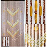 "BeadedString Wood Beaded Curtain-Natural Wood Beaded Door Beads-Doorway Curtain-35.5""x76""-52 Strands-Victory"