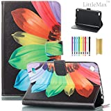 Fire 7 Case,LittleMax Smart PU Synthetic Leather Case Flip Cover with Auto Wake/Sleep for Amazon Kindle Fire 7 Inch 7th Gen 2017 Release & 5th Gen Release 2015 with Free Stylus-03 Rainbow Flower