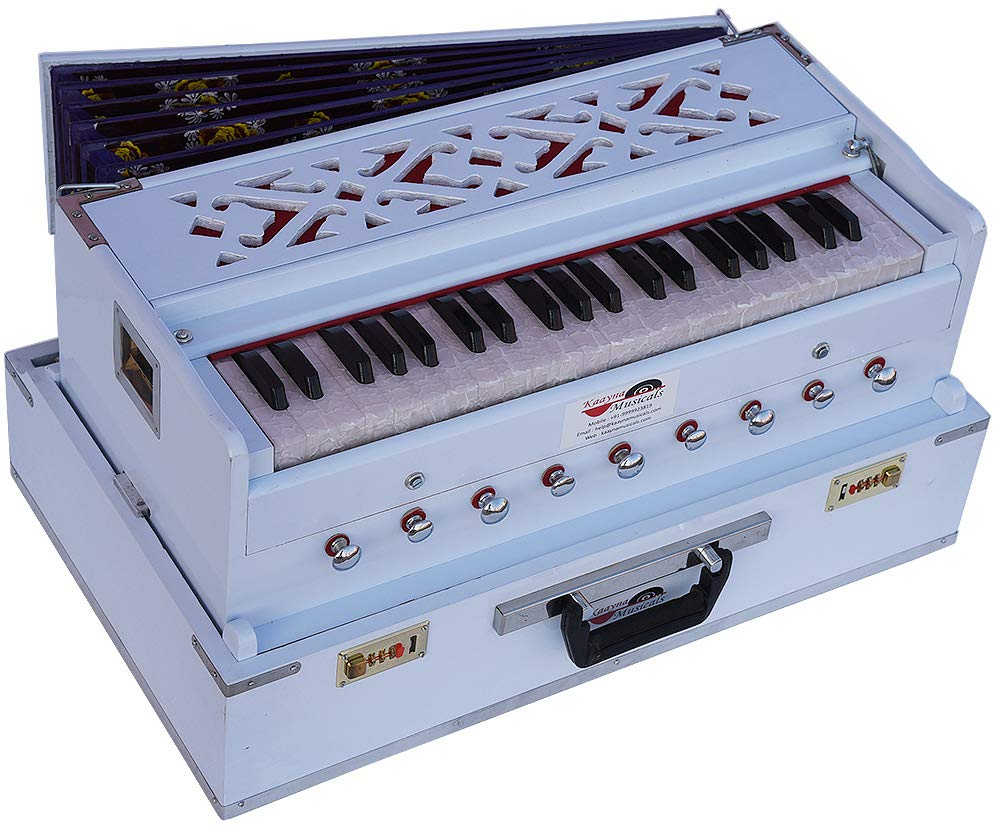 Harmonium Traveler/Portable/Folding Type By Kaayna Musicals, 9 Stops- 5 Main & 4 Drone, 3½ Octaves, Coupler, White Colour, Gig Bag, Bass-Male Reed - 440Hz, Suitable for Yoga, Bhajan, Kirtan, Mantra by Kaayna Musicals