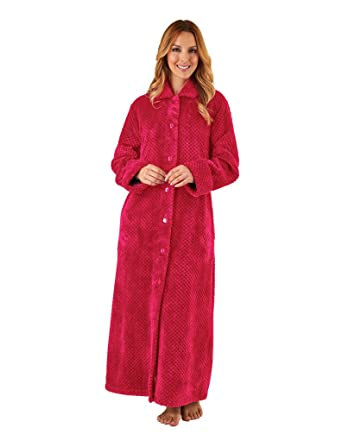 Slenderella Hc8317 Womens Raspberry Red Robe Long Sleeve Dressing