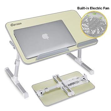 GBtiger Mesa de Cama PC, Base de refrigeración/Apoyo para PC portátil, Soportes Extensibles para Notebook y ángulo Ajustable Patas Antideslizante: ...