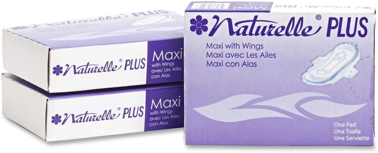 White Dispenser Refill Naturelle Plus 25189973 Sanitary Napkins w//Wings 250//CT