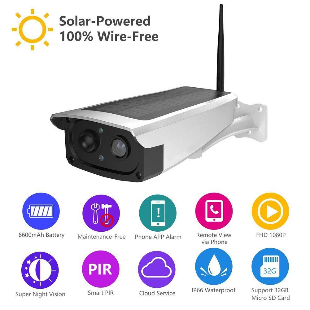Caméra De Surveillance Solaire Sans Fil HD 1080P WiFi Étanche IP65 Night Vision Camera Extérieure avec Point névralgique intégré
