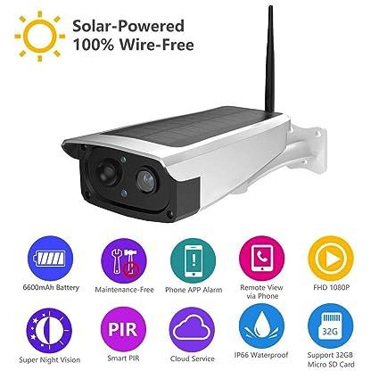 Cámara de seguridad solar para exteriores, cámara IP 1080P Sistema de cámaras de vigilancia inalámbricas con audio bidireccional para seguridad en el ...