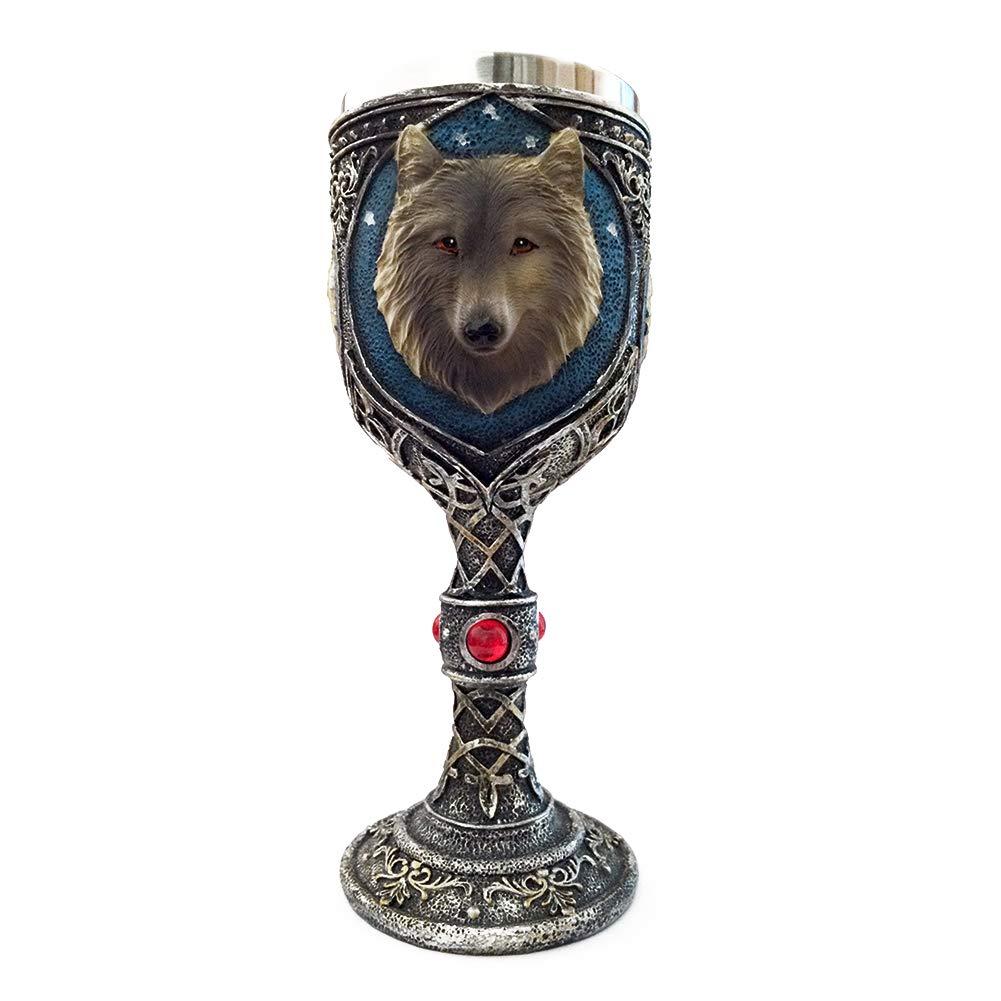 NiceButy Copa del Lobo 3D /época la Cabeza c/áliz Totem Relieve Vino Artificial Rub/í Decorado Acero Inoxidable Taza de la Bebida 1PC