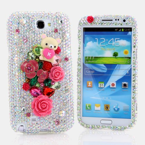 Samsung Note 2 Luxury 3D Bling Case - Elegant Red Rose AB Crystal Cute Sweet Bear Love Design - Swarovski Crystal Diamond Sparkle Girly Protective Cover Faceplate (100% Handcrafted By Star33mall)