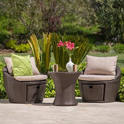 Poinsettia Outdoor 3 Pc Brown Wicker Chat Set with Water Resistant Cushions