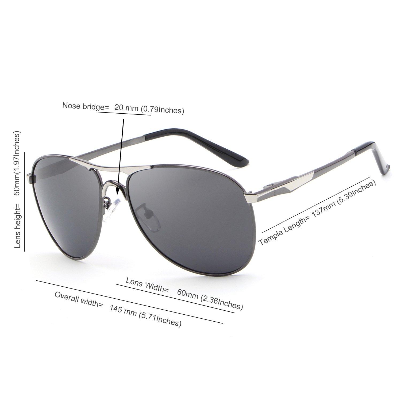 HDCRAFTER Metal Frame Mirrored Polarized Aviator Sunglasses for Men//Women
