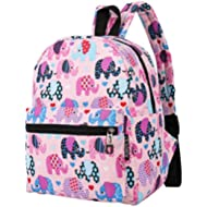Lightweight Canvas Mini Backpack for Women, Teens and Kids (Elephant Pink Small V2)