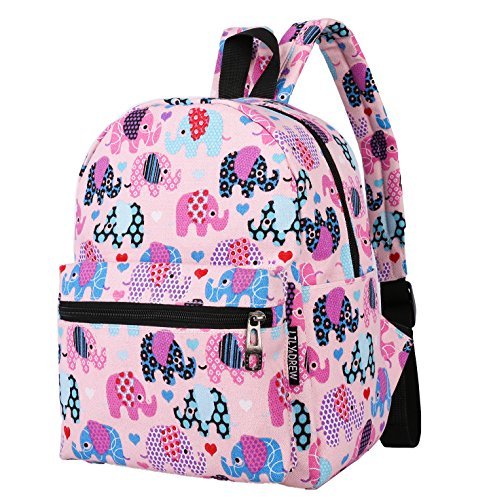 Lightweight Canvas Backpack for Women, Teens and Kids (Elephant Pink Small V2)