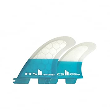 FCS Performer PC Quad Rear Fin Set - Teal - Select Size (Small)