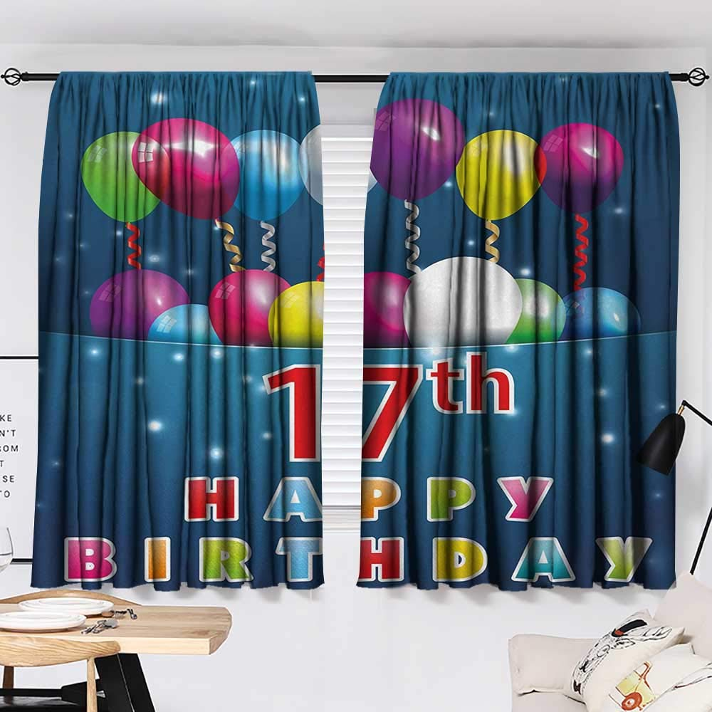 Jinguizi 17th Birthday Curtain Kids Birthday Seventeen with Colorful Balloons on Blue Colored Backdrop Image pop Darkening Curtains Multicolor W55 x L39 by Jinguizi (Image #2)