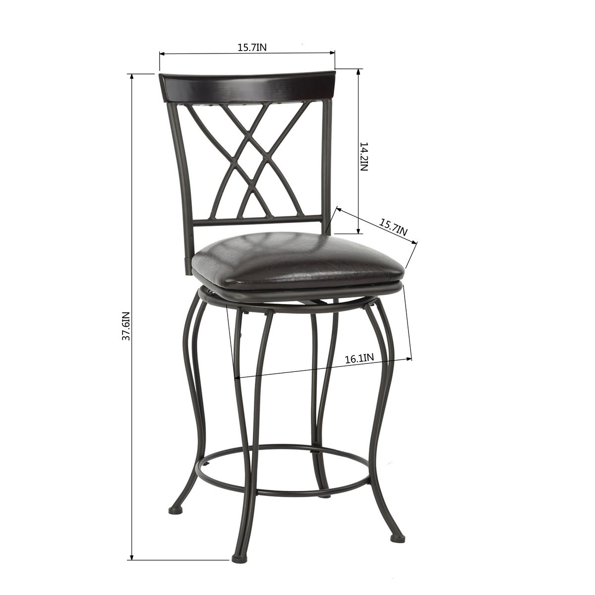 FurnitureR 24'' Circles-Back Swivel Bar stool Counter Height Bar Chair by FurnitureR (Image #9)
