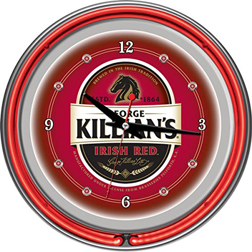 George Killian's Irish Red Chrome Double Ring Neon Clock, 14