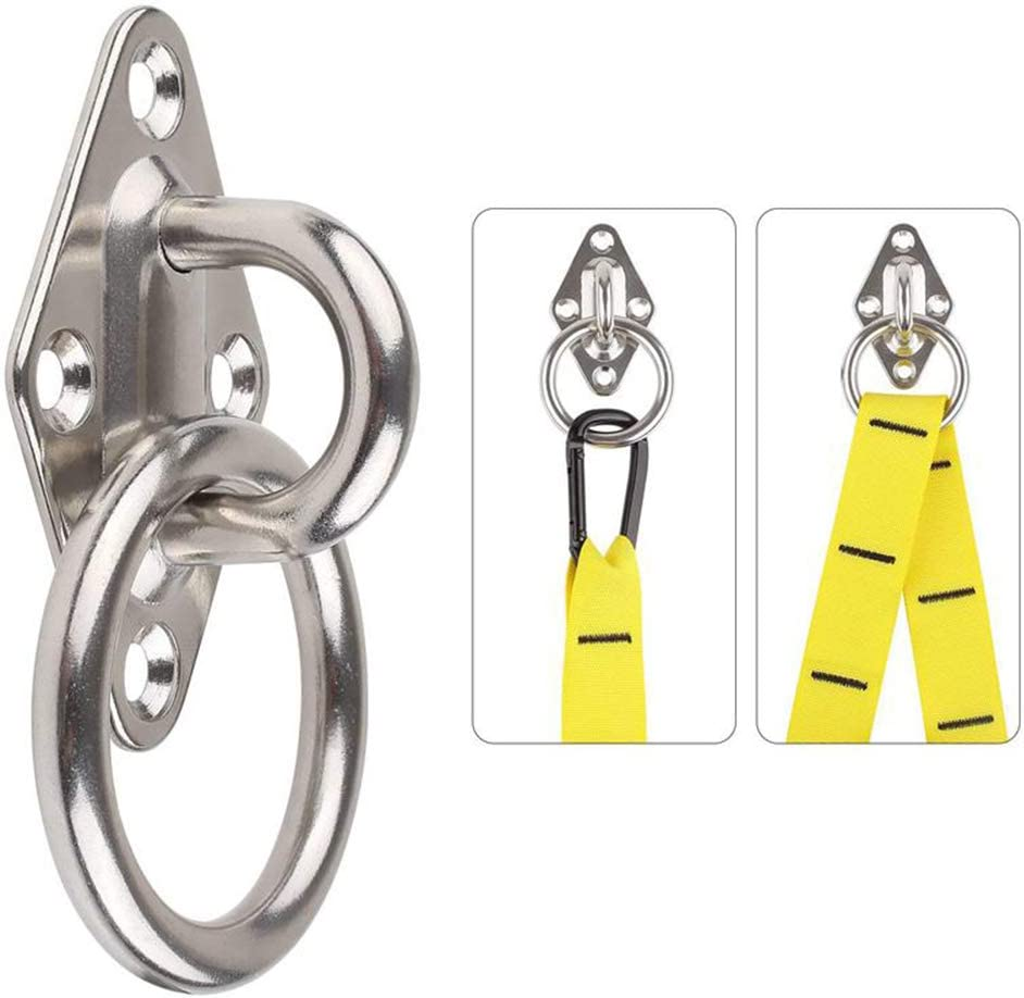 heyous 2-Pack M8 304 Stainless Steel Heavy Duty Pad Eye Hook Plate Staple Ring with Mounting Screws for Yoga Hammock Swing Marine Boat Application