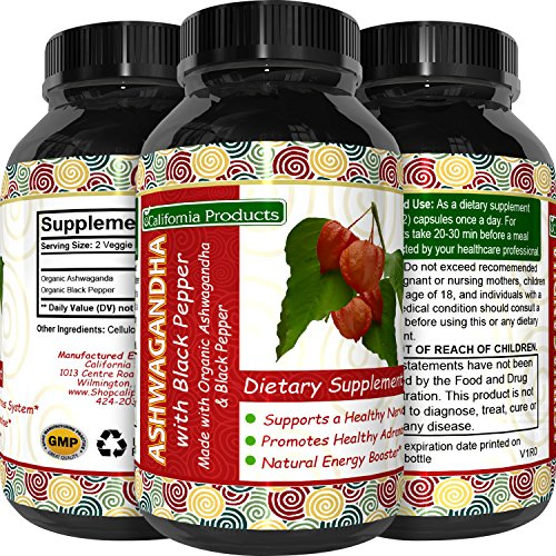 Best Ashwagandha Root Powder Capsules 1200 mg - Premium Relaxation Sleep Natural Supplement - Stress Relief Energy Rejuvenate 100% Pure Potent Ingredients for Women and Men by California Products