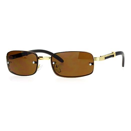 cc92cd10e44 Amazon.com  Rimless Look Rectangle Sunglasses Unisex Vintage Design ...