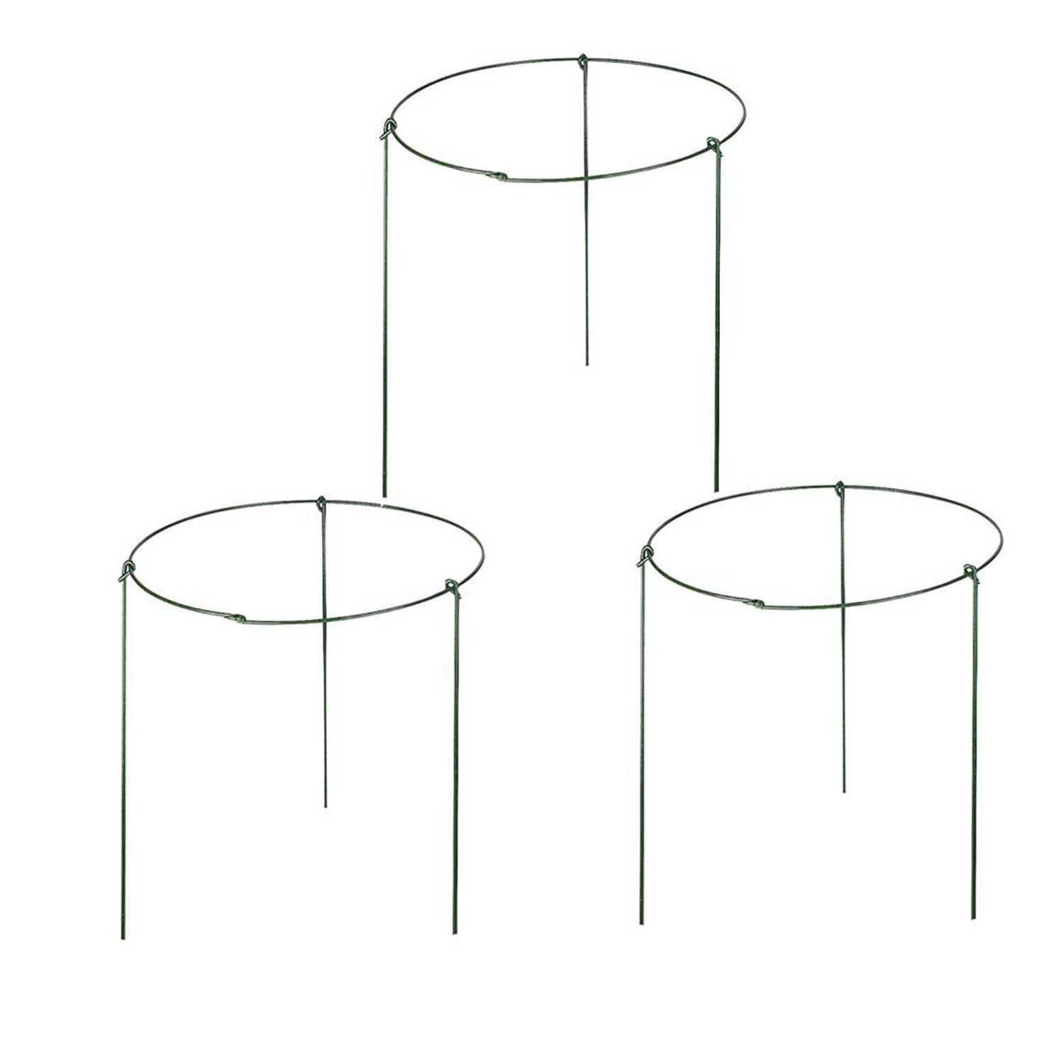 ( Pack of 3 ) Large Garden Plant Support Rings, 10'' Wide x 17'' High, 3 Legs
