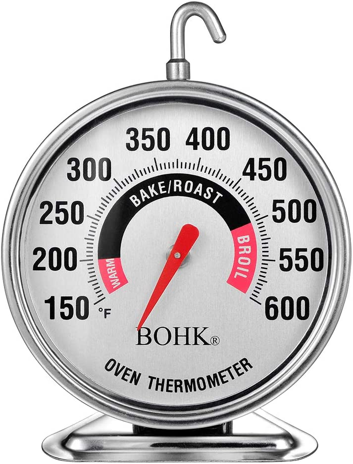 BOHK 2.36 Inch Large Dial Stainless Steel Baking Oven Thermometer With 360 Degrees Rotation Hanger And Triangle Holder