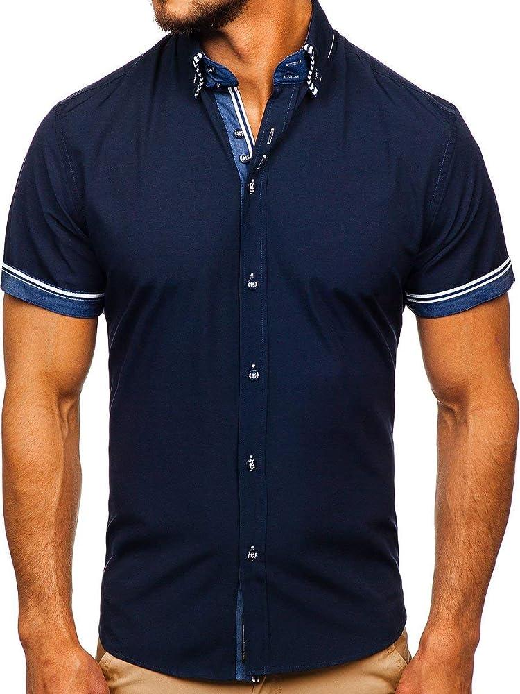 BOLF Hombre Camisa De Manga Corta Abotonada Cuello Americano Camisa de Algodón Slim Fit Estilo Casual 2911-1 Azul Oscuro S [2B2]: Amazon.es: Ropa y accesorios