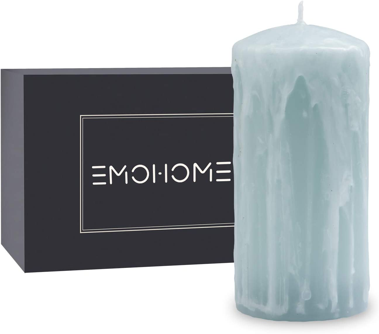 EMOHOME Mothers Day 3X6 Inch Unscented Pillar Candle with Wax Pouring On Top Perfect for Valentine's Day Gifts for Women,Wedding Party Birthday Dinner Home Decoration Spa (Ice Blue)
