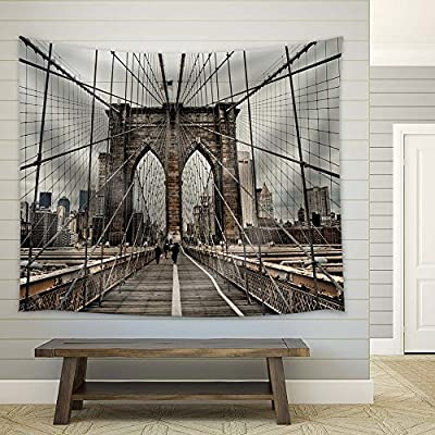 New York City Brooklyn Bridge - Fabric Tapestry, Home Decor - 68x80 inches