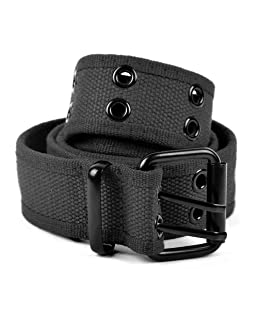 boxed-gifts Solid Color Military and Casual Canvas Belt, Double Grommet Unisex Belt for Men and Women - Black