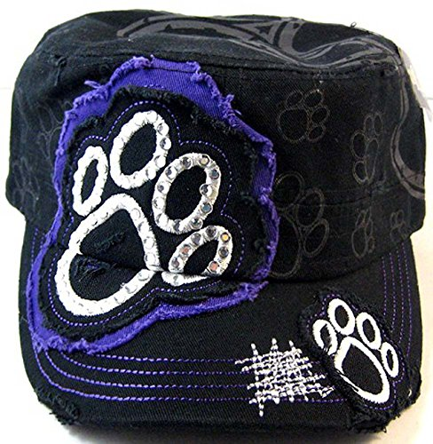 Paw Print Distressed Crystal Rhinestone Adjustable Military Cadet Cap (Black/Purple) (Cadet Cap Rhinestone)