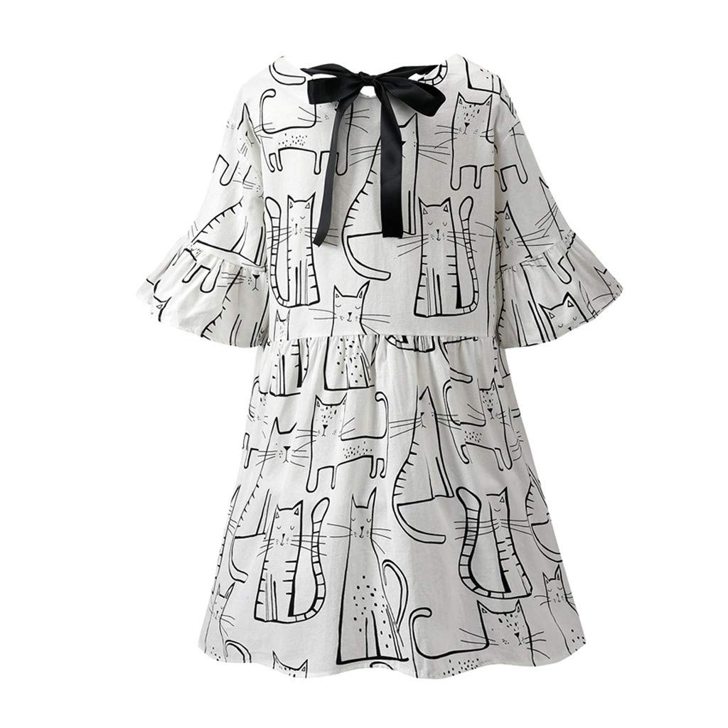 LONGDAY Women Summer Dress Cotton Linen T-Shirt Crew Neck Print Shirt Mini Dress Plus Size Comfy Top Swing Loose Blouse White