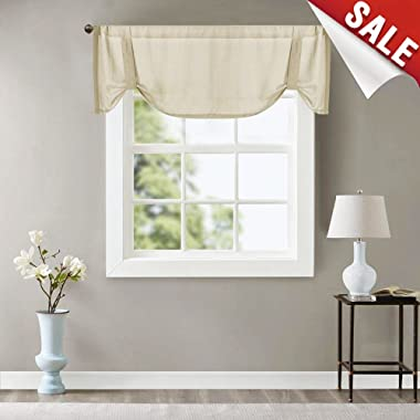 Valance Semi Sheer Short Curtains Kitchen Casual Weave Cafe Curtains Half Window Treatments 1 Panel 18  L Beige